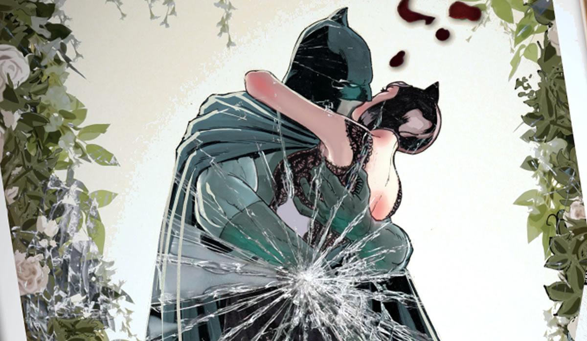 Batman con Catwoman y el álbum de una bodafrustrada
